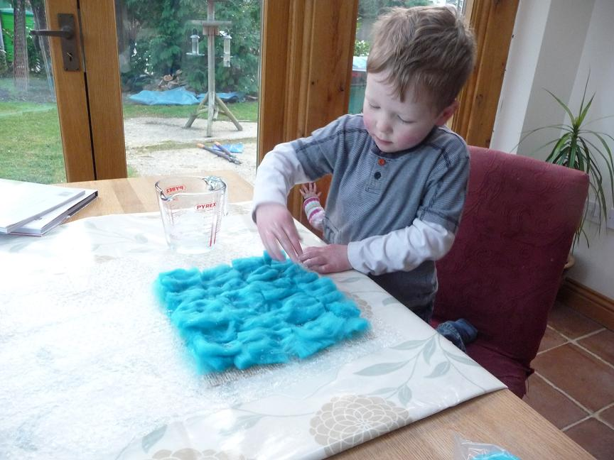 James making spearmint and turquoise felt