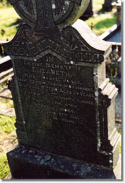 Grave of Howell and Elizabeth Jones, Bethlehem Chapel, St Clears