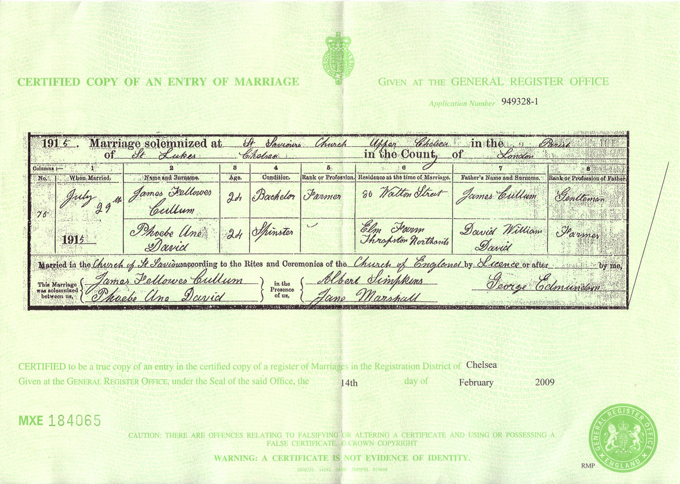 James & Phoebe Marriage Certificate